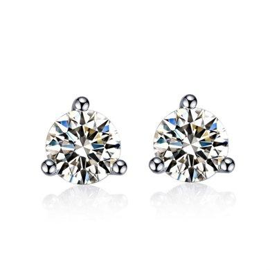 佐卡伊鉆石珠寶 白18k金鉆石耳釘結婚耳飾女款正品