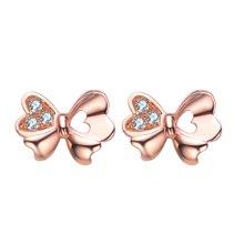 Cerana 18K玫瑰金鉆石耳釘耳環蝴蝶耳釘設計款