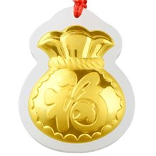 金鑲玉福袋和田玉錢袋吊墜硬金男女玉項鏈送禮品