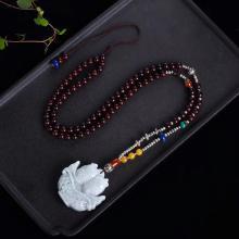 石玥珠寶翡翠A貨冰糯種連年有余配小葉紫檀毛衣鏈項鏈6mmSY03036