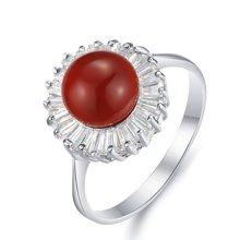 衡润 925银镶红玛瑙戒指主角16#指圈 HR00365-16