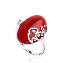 衡润 925银镶红玛瑙戒指 心相悦 女士民族风情指环HR00210