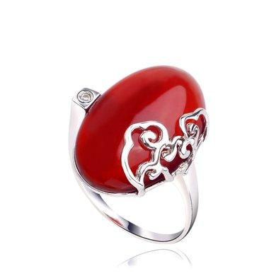 衡潤 925銀鑲紅瑪瑙戒指 心相悅 女士民族風情指環HR00210