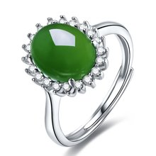 金兴福 戴妃款 优质925银镶和田碧玉戒指