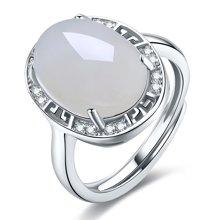 金兴福  复古经典款 925银镶优雅和田玉戒指