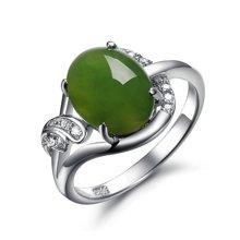 盈满堂 925银镶天然和田碧玉锆石戒指-诺言母亲节礼物