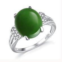 盈满堂 925银镶天然碧玉锆石女士戒指母亲节礼物