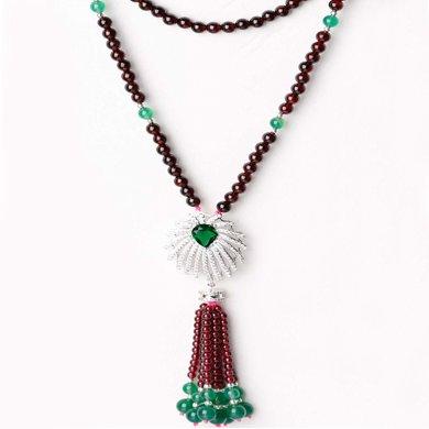 盈满堂 时尚气质天然石榴石绿宝石毛衣链