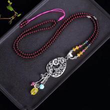 石玥珠宝S990银镂空百事如意吊坠配玛瑙毛衣链项链4.5mmSY03029