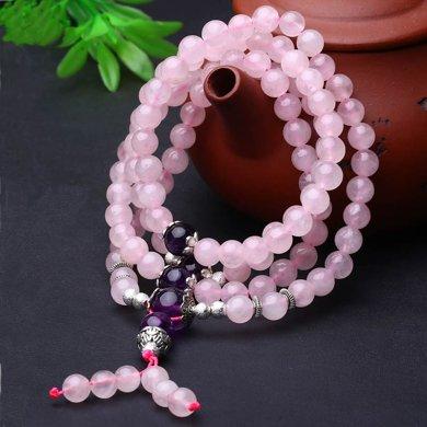 盈滿堂 天然粉水晶配紫水晶繞手4圈手鏈