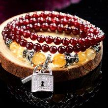 石玥珠宝 石榴石发晶手链 SY01162