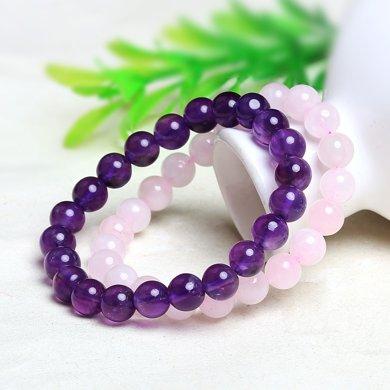 盈滿堂 天然紫水晶粉水晶手鏈2件套裝-粉色佳人