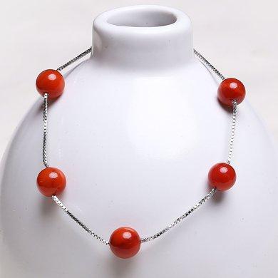 盈滿堂 時尚天然南紅瑪瑙925銀手鏈