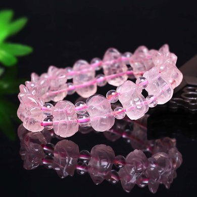 盈滿堂 手工雕刻天然粉水晶貔貅手鏈