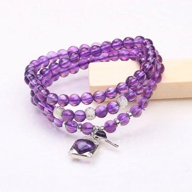 盈滿堂 天然紫水晶配925銀繞手3圈手鏈