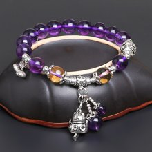 盈满堂 天然精品紫水晶配925泰银原创设计手链闺蜜款