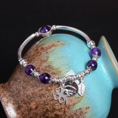 盈滿堂 原創設計時尚925銀天然紫水晶手鏈-小幸運