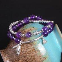 盈满堂 韩版时尚925银天然紫水晶双层手链-风铃