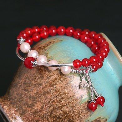 盈滿堂 925銀配天然淡水珍珠紅瑪瑙雙層手鏈-紅袖添香