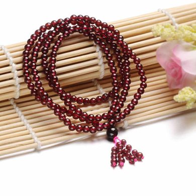 衡潤 石榴石手鏈 圓珠水晶手鏈 4mm女 長款手鏈項鏈多圈民族風飾品 HR12H0057