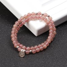 盈满堂 S925银甜美天然草莓晶双层手链