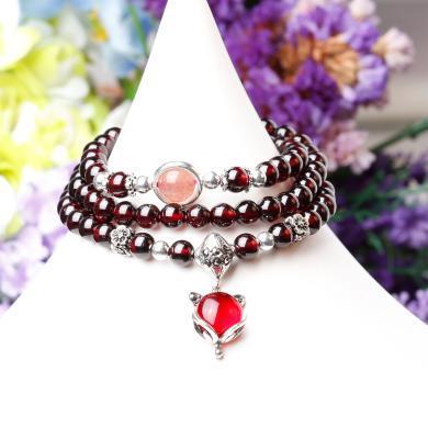 盈滿堂天然石榴石配925銀草莓晶三圈手鏈-小狐仙