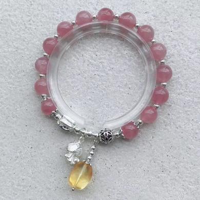 石玥珠寶 S925銀配馬粉粉水晶手鏈8mmSY02928