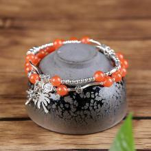 石玥珠寶 S925銀椰樹南紅手鏈6.5mmSY02849