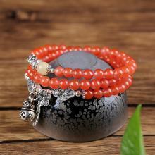 石玥珠宝 S925银葫芦南红多圈手链5.5mmSY02847