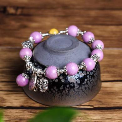 石玥珠宝 S925银蜜蜡配紫云母手链10mmSY02968