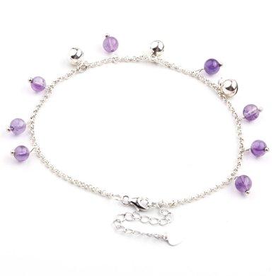 盈满堂 天然紫水晶脚链925银铃铛女款夏日小清新礼物