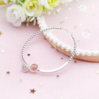 盈滿堂 天然草莓晶S925銀手鏈簡約甜美水晶手鏈閨蜜禮物