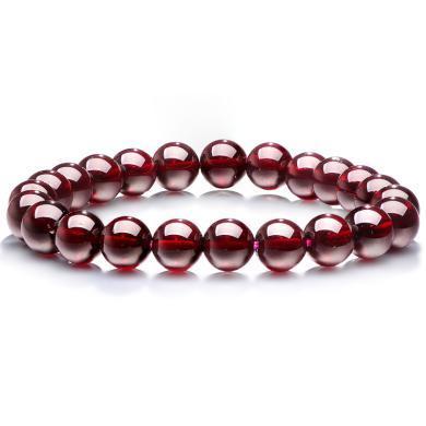 石玥珠寶 8-9mm石榴石手鏈 男女款時尚飾品手串女 酒紅色 SY00260