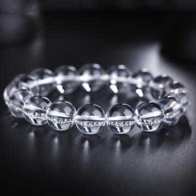 石玥珠宝  白水晶手链饰品手串男女情侣款 12毫米
