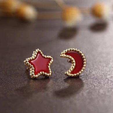 ARMASA阿瑪莎 S925銀鍍金瑪瑙星月耳釘時尚新品送女友送自己