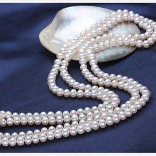雅丹妮珠宝天然淡水珍珠项链两圈珍珠毛衣链珍珠长链7-8MM