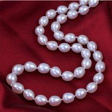 雅丹妮珠宝天然淡水珍珠链米形水滴形珍珠项链8-9MM