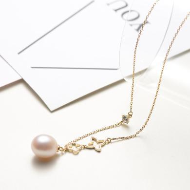 京潤珍珠逸麗 925銀鑲白色淡水珍珠吊鏈項鏈 9-10mm水滴形 銀泰同款