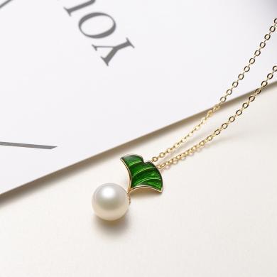 京润珍珠碧秀 7-8mm圆S925银镶白色淡水珍珠吊珠链 镶珐琅 银泰同款