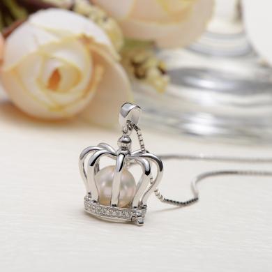 京潤皇冠 7-8mm圓形 S925銀鑲淡水珍珠吊墜 珠寶禮物  送女友
