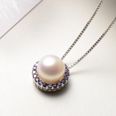 京潤紫戀 S925銀鑲白色淡水珍珠吊墜 9-10mm饅頭形 浪漫紫色