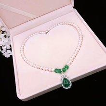 ARMASA阿瑪莎淡水珍珠項鏈近圓配925銀綠玉髓吊墜媽媽長輩禮物禮盒裝帶證書
