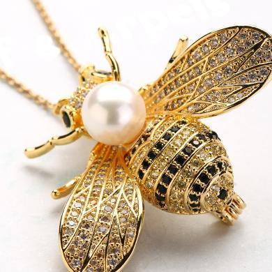 风下Hrfly 小蜜蜂珍珠胸针吊坠两用 天然珍珠 珍珠胸针胸花别针 吊坠(白色淡水珠款,其他珍珠联系客服)