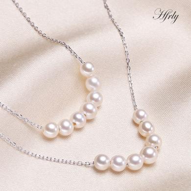 風下Hrfly 爆款7珠微笑S925銀淡水強光小珍珠可調節甜美清新送女友 高檔禮盒包裝-白色