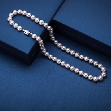 【僅599元搶 天然高檔珍珠項鏈】風下Hrfly  強光飽滿白色淡水珍珠項鏈 8-9mm 附高檔禮盒包裝