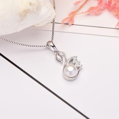 京潤珍珠  小天鵝 守護系列 白色 饅頭形珍珠項鏈 銀S925淡水珍珠吊墜