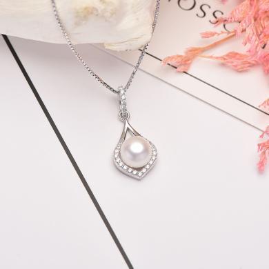 京潤珍珠 玫瑰之眼  秘密花園系列 銀S925白色淡水珍珠吊墜