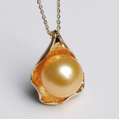 風下Hrfly 真珠愛人 南洋金珠吊墜項鏈925銀托正圓強光單顆氣質女款珍珠項墜   附高檔包裝