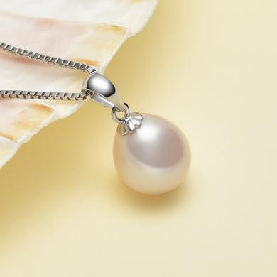 京润珍珠 月色 s925银镶白色淡水珍珠吊坠 女  银泰同款