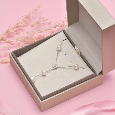 京润珍珠简爱 S925银满天星 白色淡水珍珠项链 细微瑕/圆形 送女友